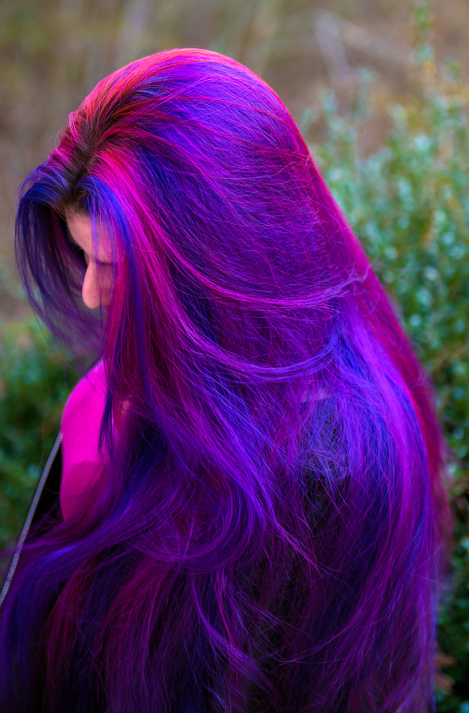 Rainbow hair multi colored hair manic panic dye hard lizzy davis virally recognized long purple and pink hair by lizzy davis using manic panic deep purple dream junglespirit Image collections